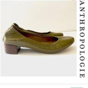 Gilen Olive Patent Leather Block Heel Flats